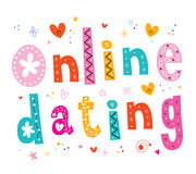 Online dating. Decorative type lettering design Royalty Free Stock Photos