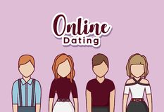Online dating design. With avatar young people standing over pink background, colorful design. vector illustration Royalty Free Stock Photography
