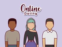 Online dating design. With avatar young people standing over purple background, colorful design. vector illustration Stock Photo
