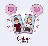 Online dating design. Cellphones with avatar man and woman on screen and related icons around over blue background, colorful design. vector illustration Stock Images