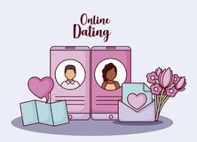 Online dating design. Cellphones with avatar man and woman on screen and related icons around over blue background, colorful design. vector illustration Stock Photo