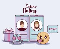 Online dating design. Cellphones with avatar man and woman on screen and related icons around over blue background, colorful design. vector illustration Stock Image