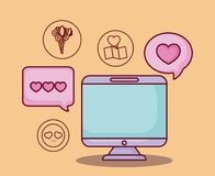 Online dating design. Computer with online dating related icons over orange background, colorful design. vector illustration Stock Images