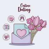 Online dating design. Envelope and flowers bouquet  with online dating related icons over  purple background, colorful design. vector illustration Royalty Free Stock Photo