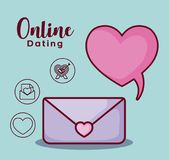 Online dating design. Envelope and speech bubble with online dating related icons over blue  background, colorful design. vector illustration Royalty Free Stock Photos