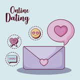 Online dating design. Envelope and speech bubble with online dating related icons over blue  background, colorful design. vector illustration Stock Photography