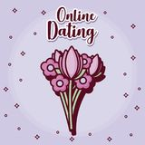 Online dating design. With flowers bouquet icon over purple background, colorful design. vector illustration Royalty Free Stock Photo