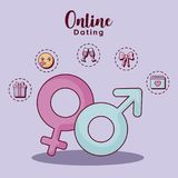 Online dating design. Gender symbols with online dating related icons over purple  background, colorful design. vector illustration Stock Photography