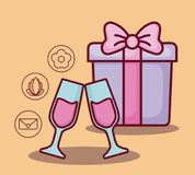 Online dating design. Gift box with online dating related icons over orange background, colorful design. vector illustration Royalty Free Stock Photos