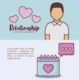 Online dating design. Infographic presentation of online dating concept with avatar man and calendar icons over colorful background, vector illustration Royalty Free Stock Images
