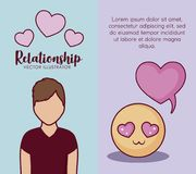 Online dating design. Infographic presentation of online dating concept with avatar man icons over colorful background, vector illustration Stock Photography
