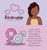 Online dating design. Infographic presentation of online dating concept with avatar woman and gender symbols icons over colorful background, vector illustration Stock Photo