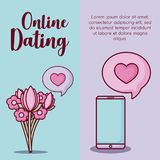 Online dating design. Infographic presentation of online dating concept with bouquet of flowers and cellphone  icons over colorful background, vector Stock Image