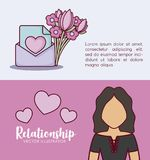 Online dating design. Infographic presentation of online dating concept with envelope and avatar woman icons over colorful background, vector illustration Stock Photography
