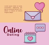 Online dating design. Infographic presentation of online dating concept with envelope and calendar icons over colorful background, vector illustration Royalty Free Stock Photo
