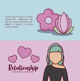 Online dating design. Infographic presentation of online dating concept with flowers and avatar woman icons over colorful background, vector illustration Stock Photography