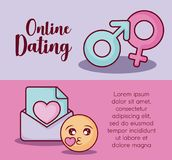 Online dating design. Infographic presentation of online dating concept with gender symbols and envelope icons over colorful background, vector illustration Stock Images