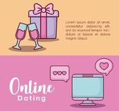 Online dating design. Infographic presentation of online dating concept with gift box and computer icons over colorful background, vector illustration Stock Photo