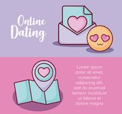Online dating design. Infographic presentation of online dating concept with map and in love emoji icons over colorful background, vector illustration Royalty Free Stock Photography