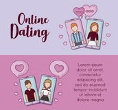 Online dating design. Infographic presentation of online dating concept with smartphones and speech bubbles icons over colorful background, vector illustration Stock Image