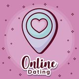 Online dating desing. Online dating design with location pin icon over pink background, colorful design. vector illustration Royalty Free Stock Photography