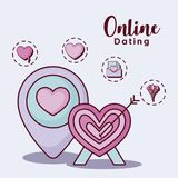 Online dating design. Location pin and target  with online dating related icons over  purple background, colorful design. vector illustration Stock Images