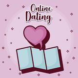 Online dating design. With map and heart symbol icon over purple background, colorful design. vector illustration Stock Photo