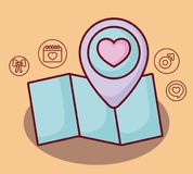 Online dating design. Map with online dating related icons over orange background, colorful design. vector illustration Royalty Free Stock Images