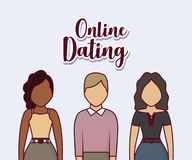 Online dating design. With avatar young people standing over blue background, colorful design. vector illustration Stock Photo
