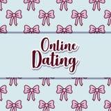 Online dating design. Over bows pattern, colorful design. vector illustration Stock Images