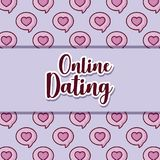 Online dating design. Over hearts pattern, colorful design. vector illustration Royalty Free Stock Photos