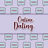Online dating design. Over speech bubbles pattern, colorful design. vector illustration Royalty Free Stock Image