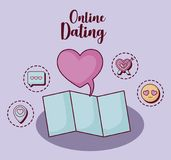 Online dating design. Speech bubble and map  with online dating related icons over  purple background, colorful design. vector illustration Royalty Free Stock Image