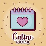Online dating desing. Online dating design with calendar icon over orange background, colorful design. vector illustration Royalty Free Stock Photos