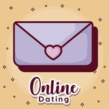 Online dating desing. Online dating design with envelope icon over orange background, colorful design. vector illustration Stock Photography