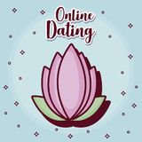 Online dating desing. Online dating design with flower icon over blue background, colorful design. vector illustration Royalty Free Stock Image