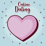 Online dating desing. Online dating design with heart icon over blue background, colorful design. vector illustration Royalty Free Stock Images