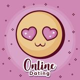 Online dating desing. Online dating design with in love emoji icon over pink background, colorful design. vector illustration Royalty Free Stock Image