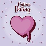 Online dating desing. Online dating design with speech bubble in heart shape over purple background, colorful design. vector illustration Royalty Free Stock Photo