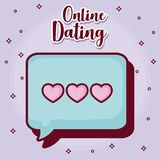 Online dating desing. Online dating design with speech bubble icon over purple background, colorful design. vector illustration Royalty Free Stock Image