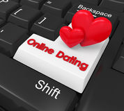 Online Dating Enter Button. Illustration. 3D render Royalty Free Stock Photography