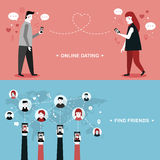 Online dating flat design Royalty Free Stock Images