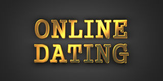 Online Dating - Gold Words on Black. Online Dating - Gold Inscription on Black Background Stock Photos