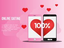 Online dating illustration conceptual vector design template. Online dating concept. Ready to use vector illustration. Suitable for background, wallpaper royalty free illustration