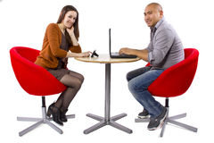 Online Dating. Interracial couple matched up via online dating royalty free stock photography
