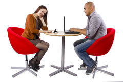 Online Dating. Interracial couple matched up via online dating royalty free stock photos