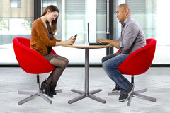 Online Dating. Interracial couple matched up via online dating stock image