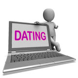 Online Dating Laptop Shows Romance Relationship And Web Love Stock Photo