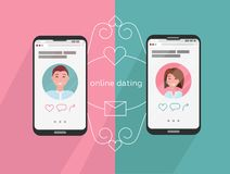 Online dating man and woman app icons on phone screen. Internet connection between couple and their smartphones. Profiles of a guy stock illustration