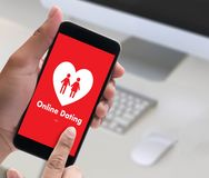 Online Dating match love man and woman and a heart, Internet Da Royalty Free Stock Images